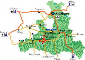 Detailed map of Maria Alm and surrounding areas